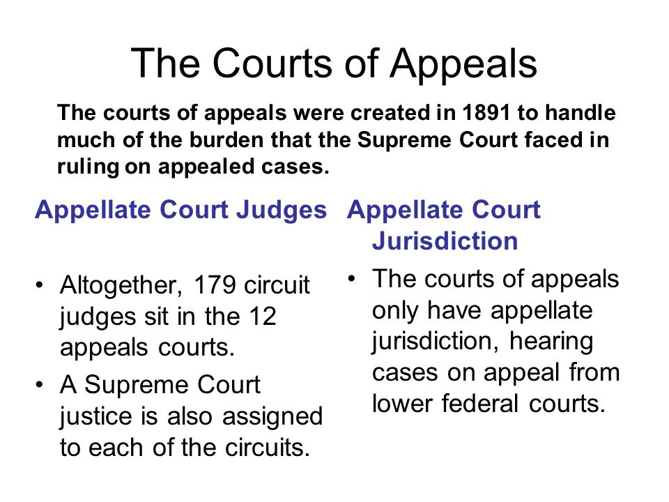 The Courts of Appeals Appellate Court Judges