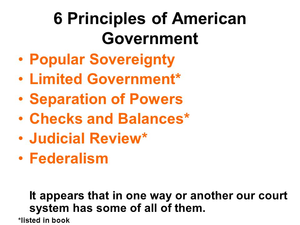 6 Principles of American Government