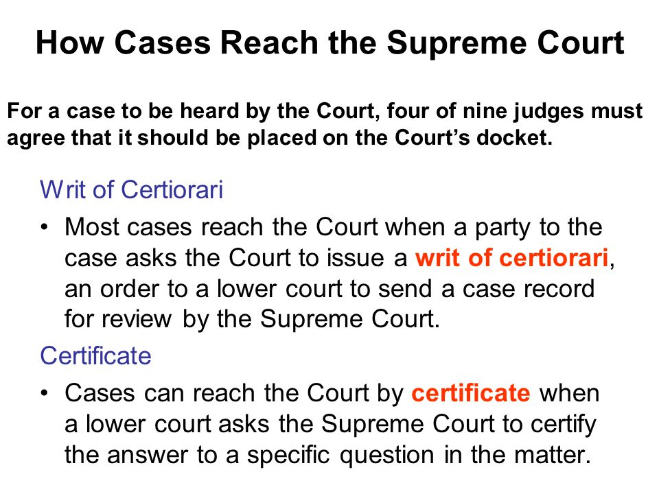 How Cases Reach the Supreme Court