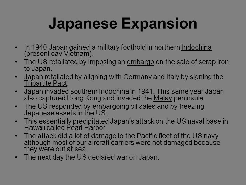 Japanese Expansion In 1940 Japan gained a military foothold in northern Indochina (present day Vietnam).