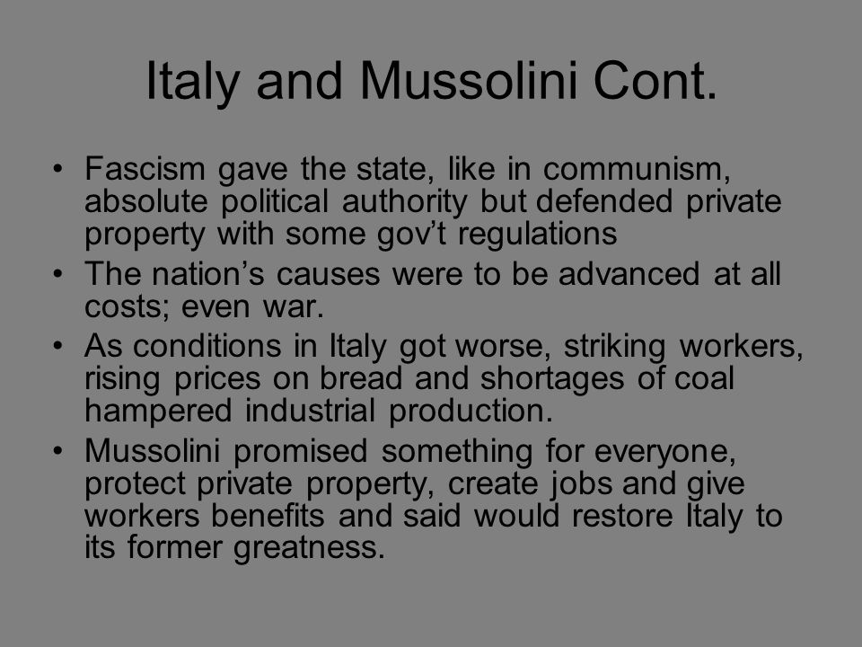 Italy and Mussolini Cont.