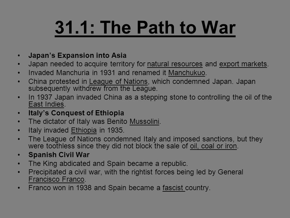 31.1: The Path to War Japan's Expansion into Asia