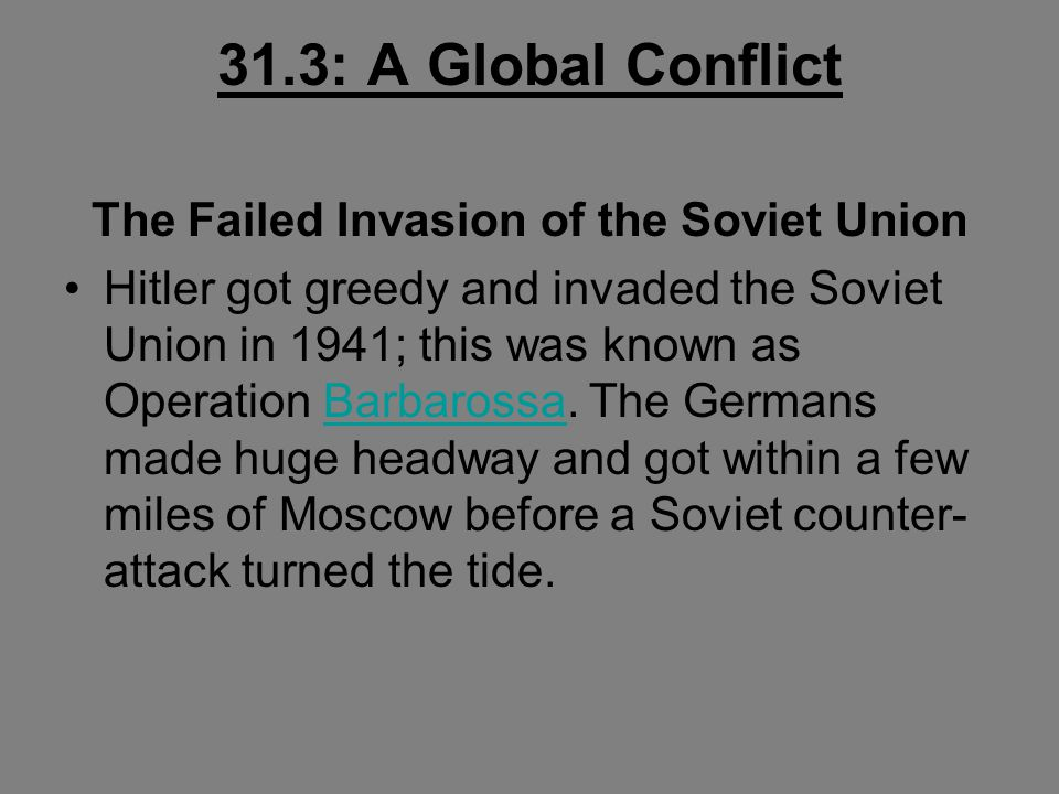The Failed Invasion of the Soviet Union