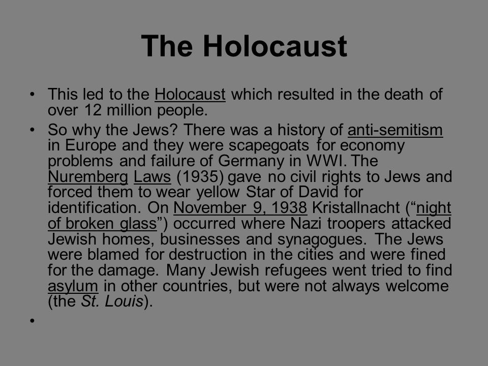 The Holocaust This led to the Holocaust which resulted in the death of over 12 million people.