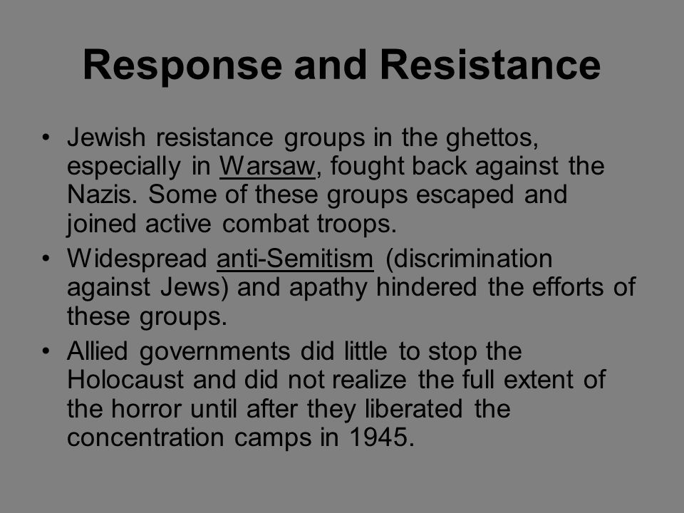 Response and Resistance