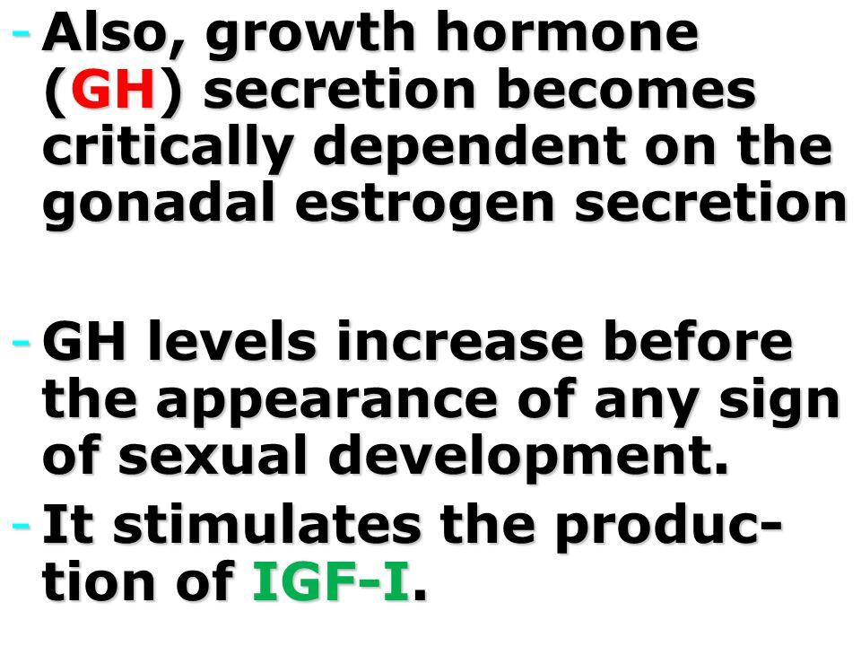 Also, growth hormone (GH) secretion becomes critically dependent on the gonadal estrogen secretion