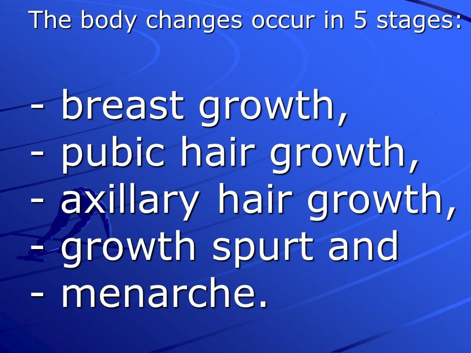 - breast growth, - pubic hair growth, - axillary hair growth,