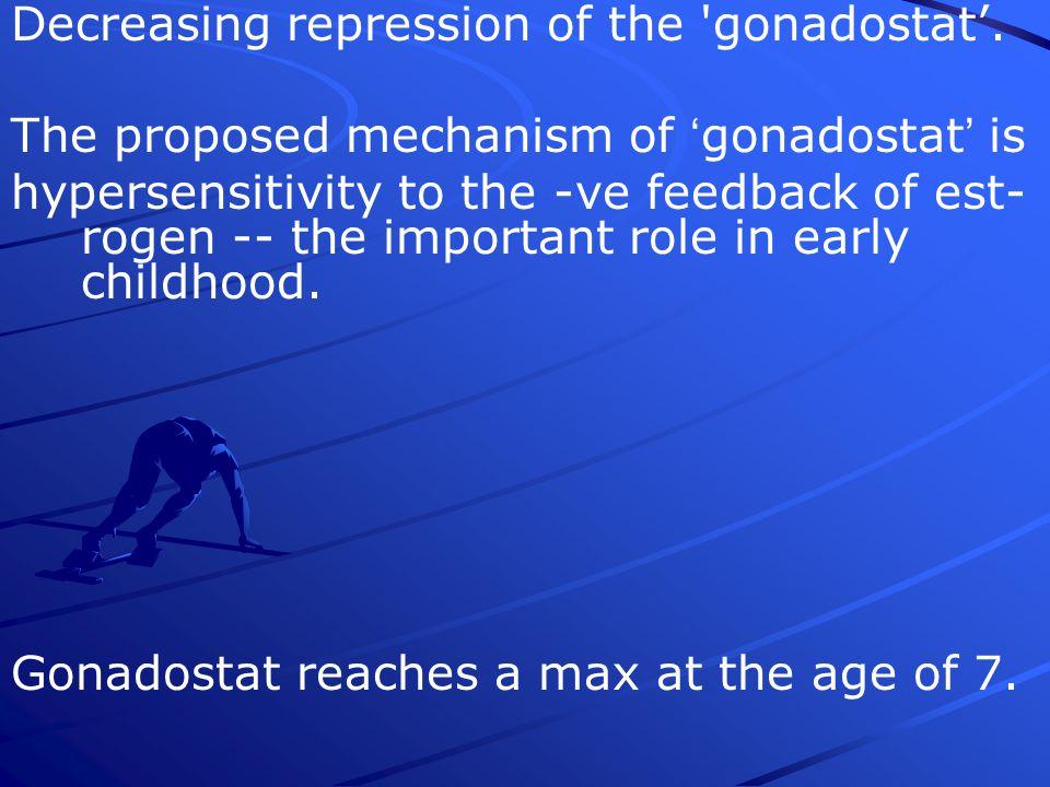 Decreasing repression of the gonadostat'.