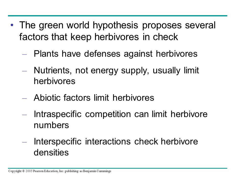 The green world hypothesis proposes several factors that keep herbivores in check