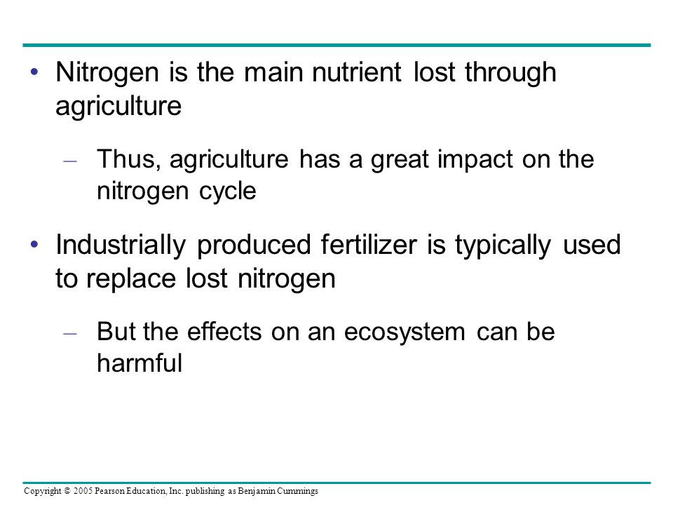 Nitrogen is the main nutrient lost through agriculture