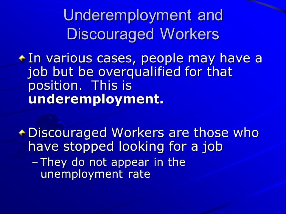 Underemployment and Discouraged Workers