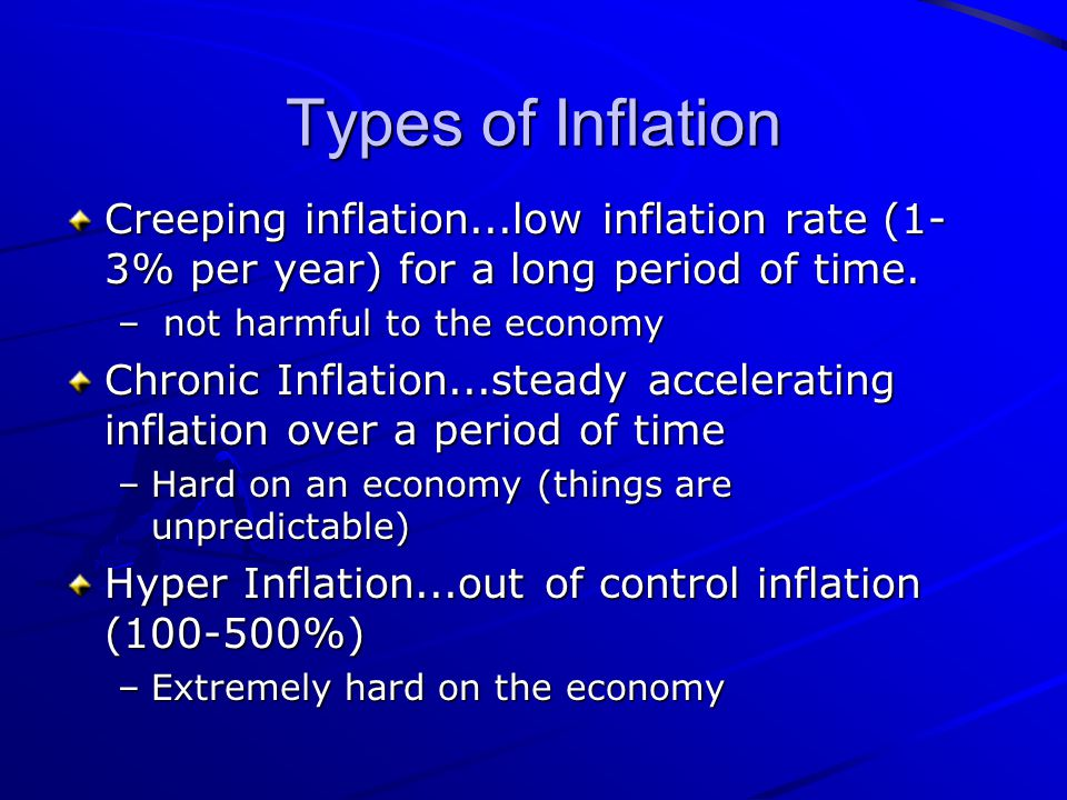 Types of Inflation Creeping inflation...low inflation rate (1-3% per year) for a long period of time.