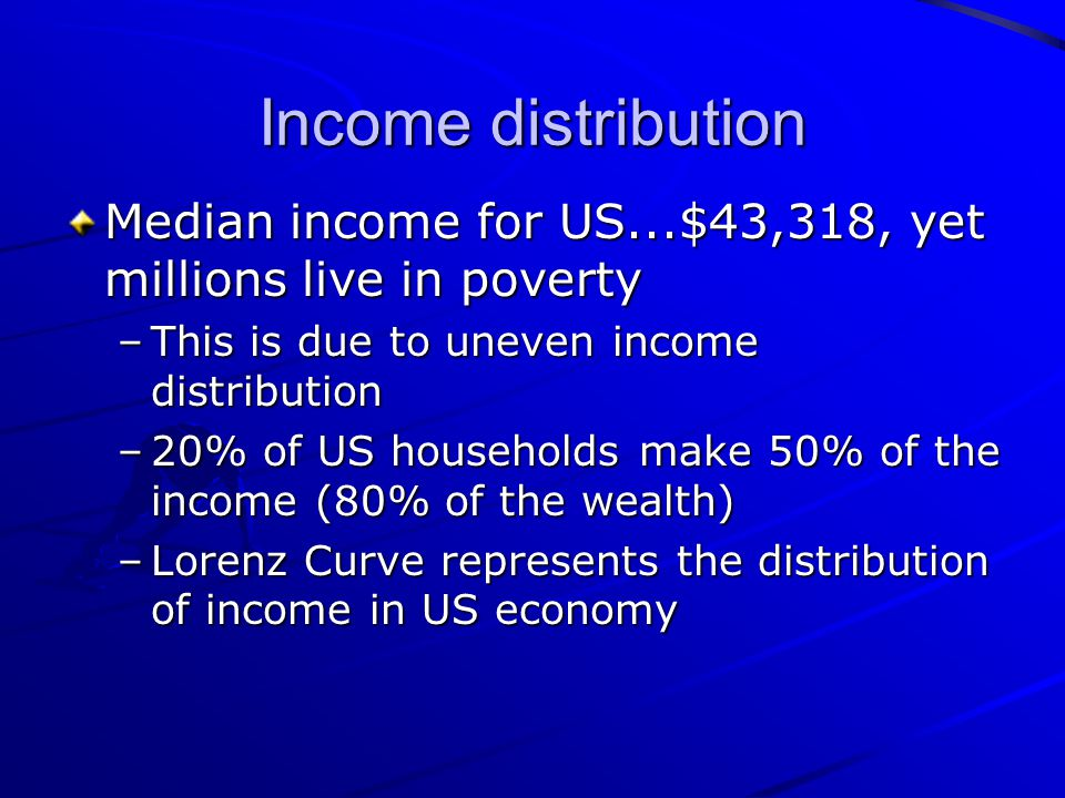 Income distribution Median income for US...$43,318, yet millions live in poverty. This is due to uneven income distribution.