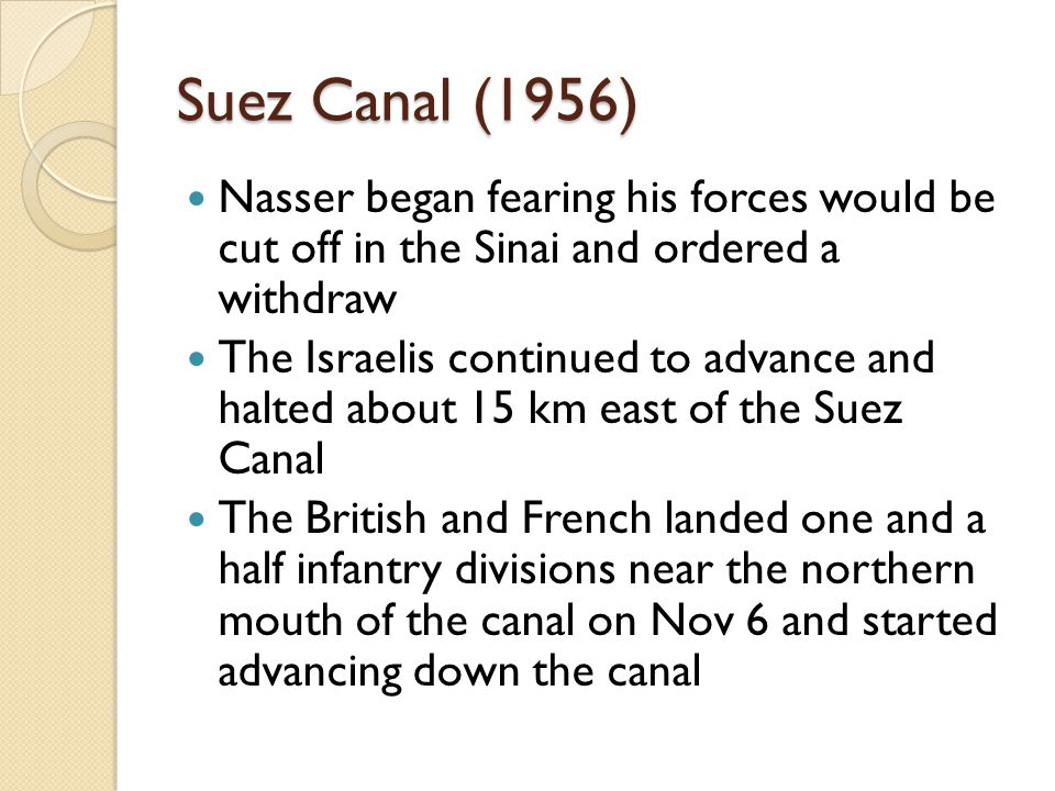 Suez Canal (1956) Nasser began fearing his forces would be cut off in the Sinai and ordered a withdraw.