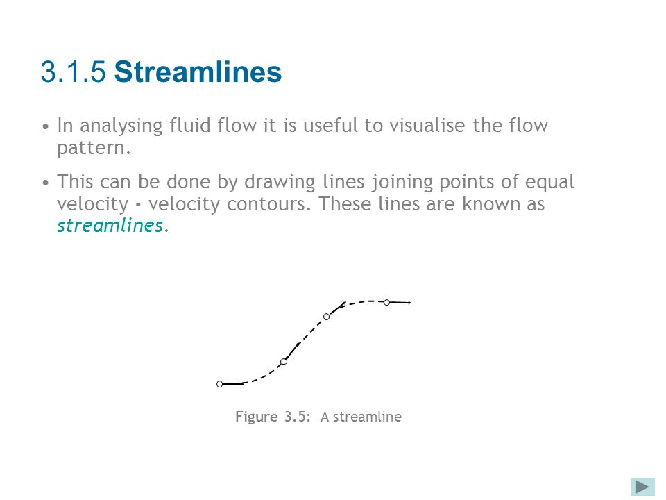 3.1.5 Streamlines In analysing fluid flow it is useful to visualise the flow pattern.