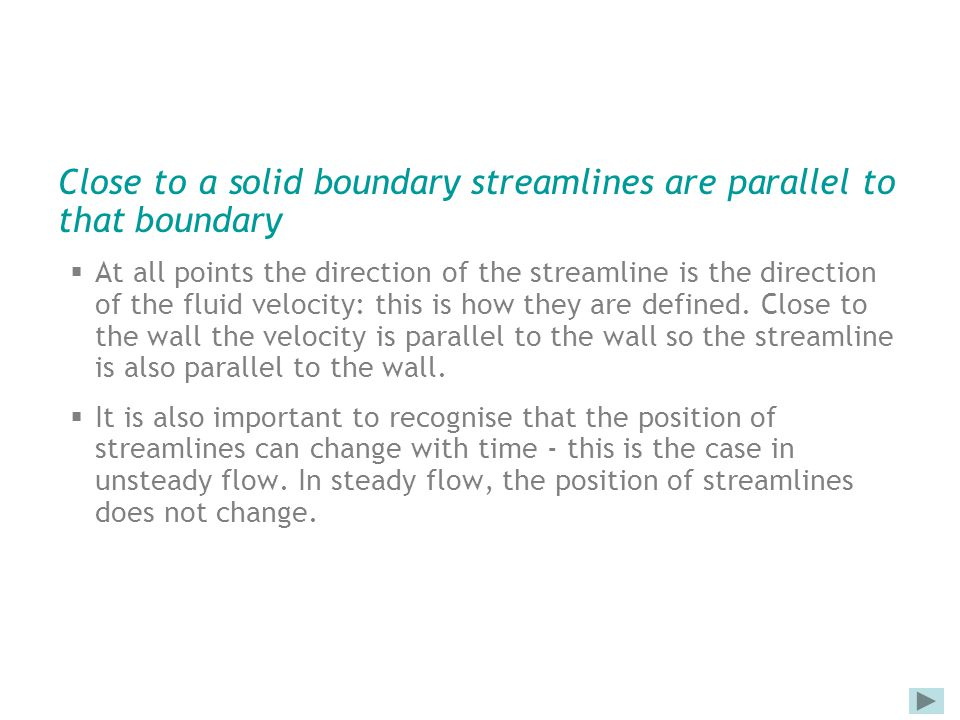 Close to a solid boundary streamlines are parallel to that boundary