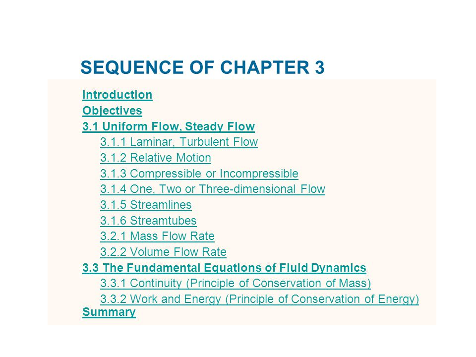 SEQUENCE OF CHAPTER 3 Introduction Objectives