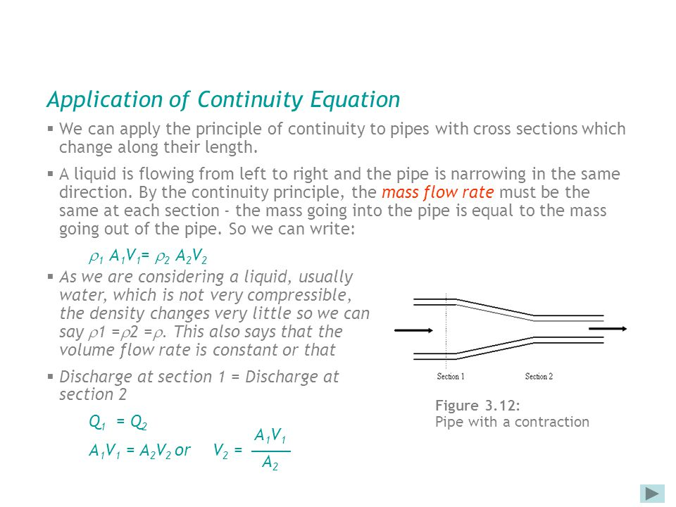 Application of Continuity Equation