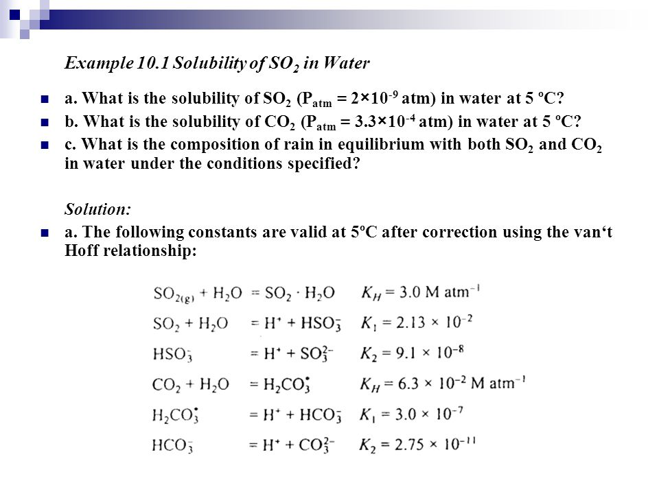 Example 10.1 Solubility of SO2 in Water