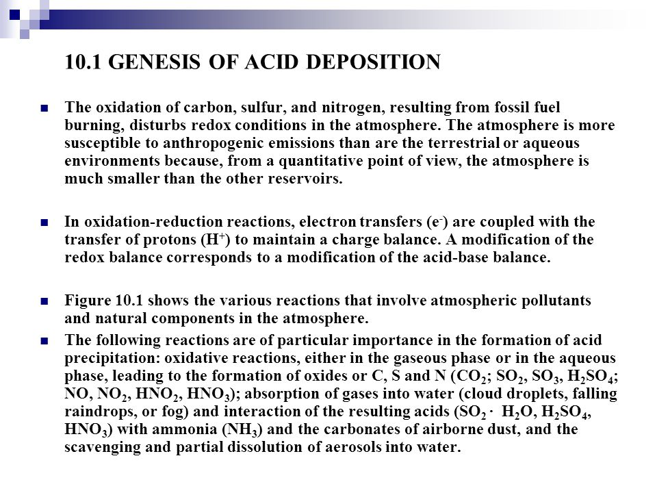 10.1 GENESIS OF ACID DEPOSITION