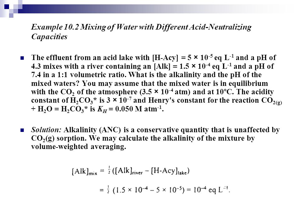 Example 10.2 Mixing of Water with Different Acid-Neutralizing Capacities