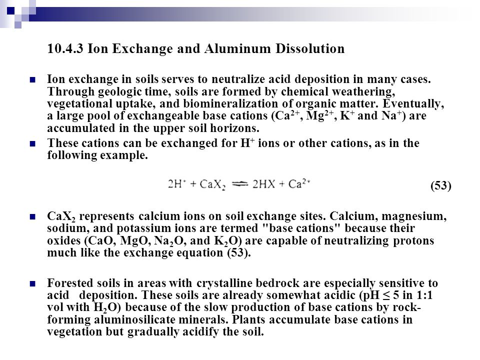 10.4.3 Ion Exchange and Aluminum Dissolution