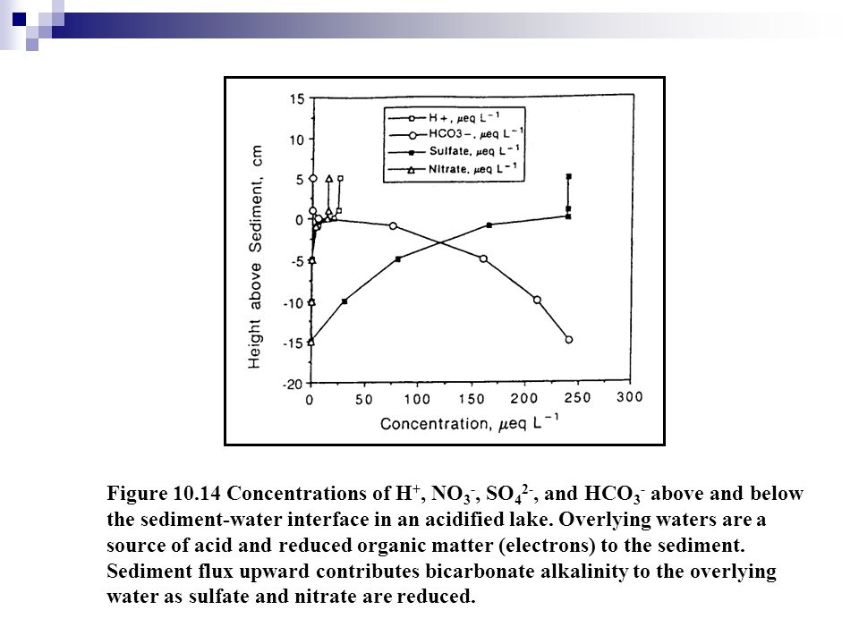 Figure 10.14 Concentrations of H+, NO3-, SO42-, and HCO3- above and below the sediment-water interface in an acidified lake.
