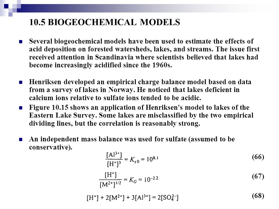 10.5 BIOGEOCHEMICAL MODELS
