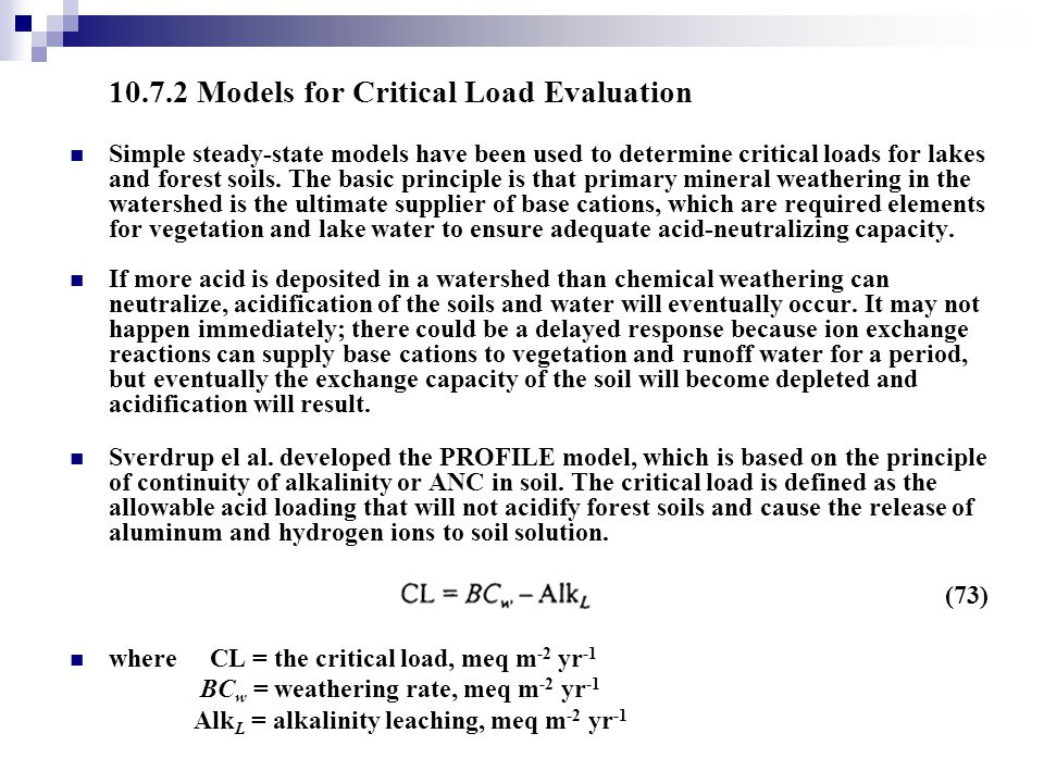 10.7.2 Models for Critical Load Evaluation