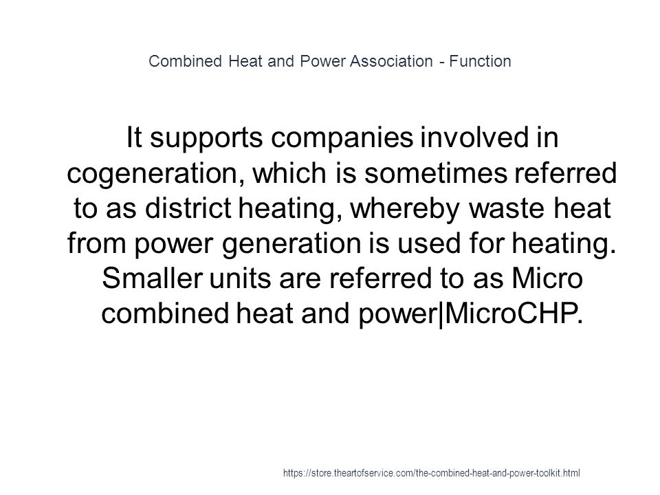 Combined Heat and Power Association - Function