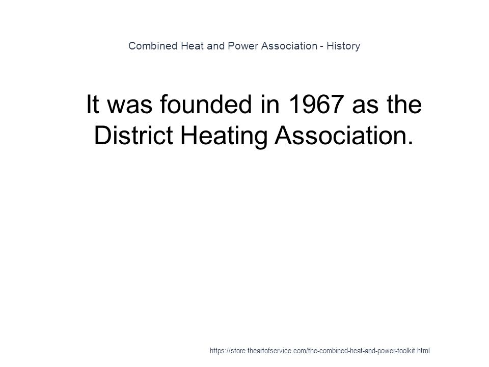 Combined Heat and Power Association - History