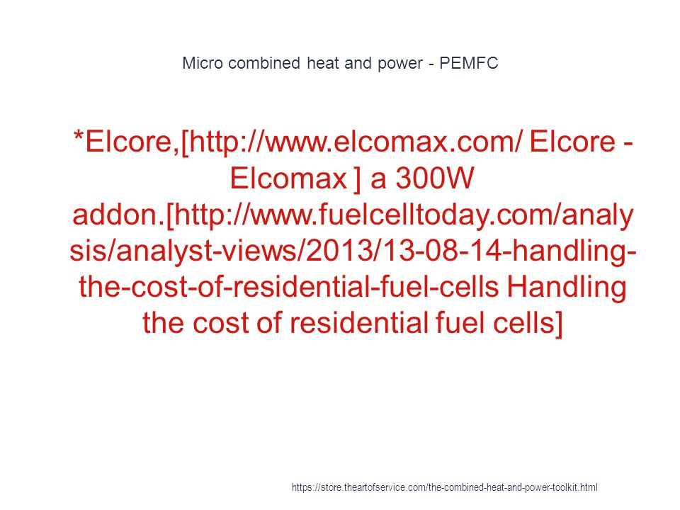 Micro combined heat and power - PEMFC