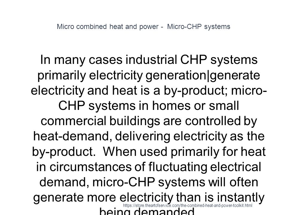 Micro combined heat and power - Micro-CHP systems
