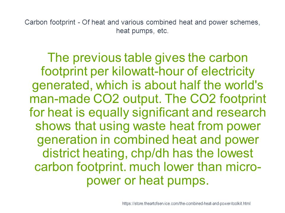 Carbon footprint - Of heat and various combined heat and power schemes, heat pumps, etc.