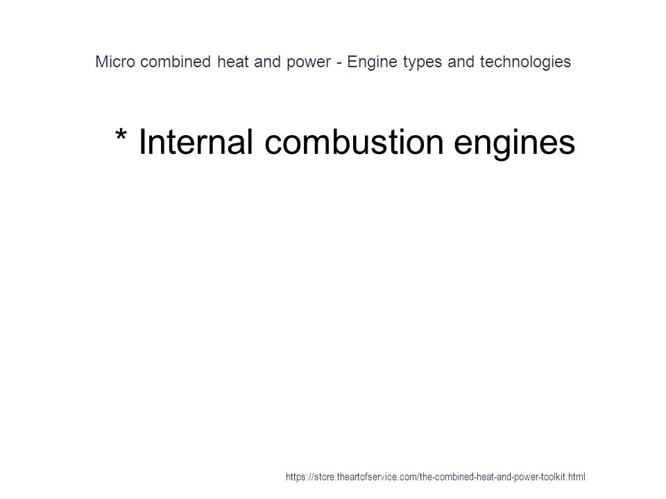 Micro combined heat and power - Engine types and technologies