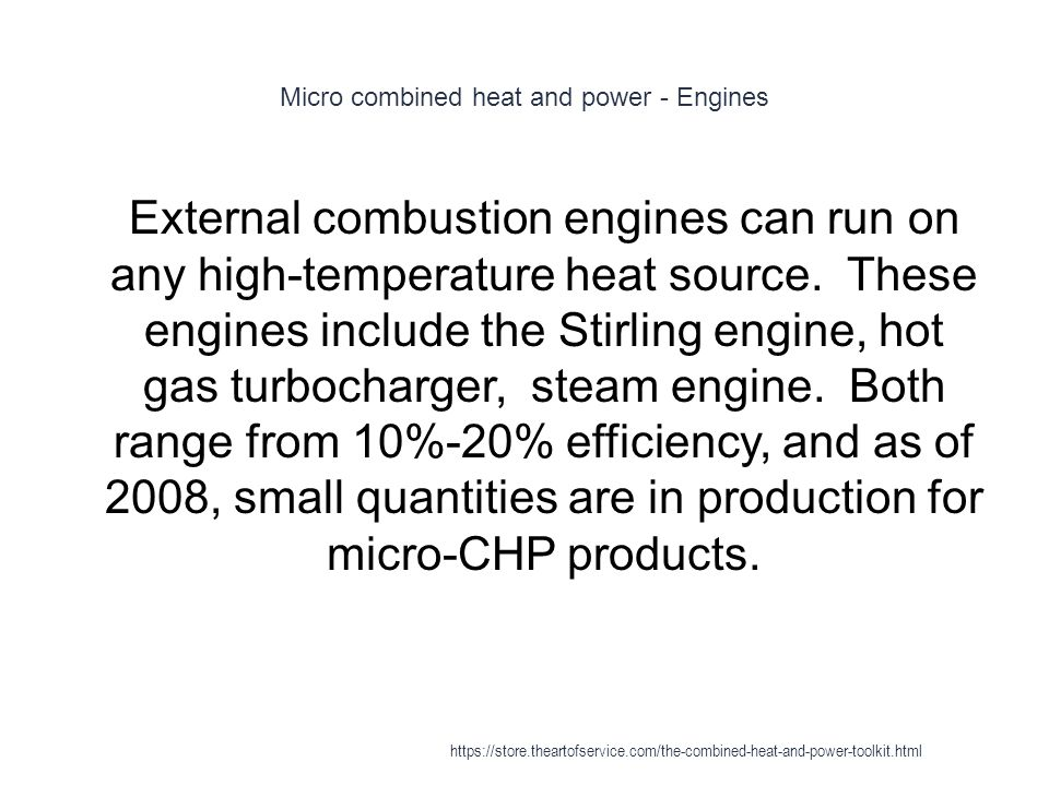 Micro combined heat and power - Engines