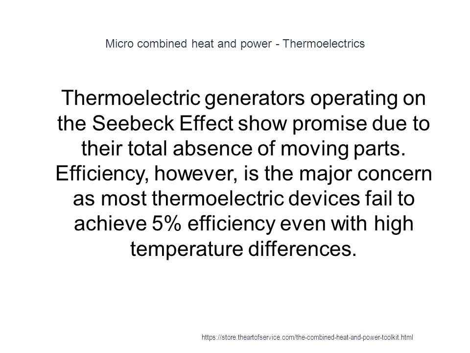 Micro combined heat and power - Thermoelectrics