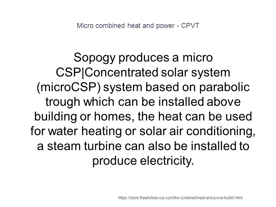 Micro combined heat and power - CPVT