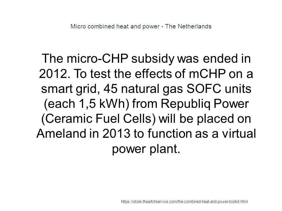 Micro combined heat and power - The Netherlands