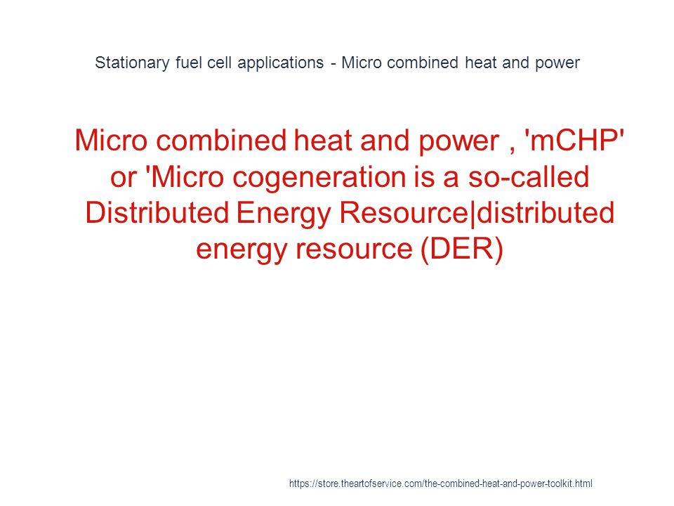Stationary fuel cell applications - Micro combined heat and power