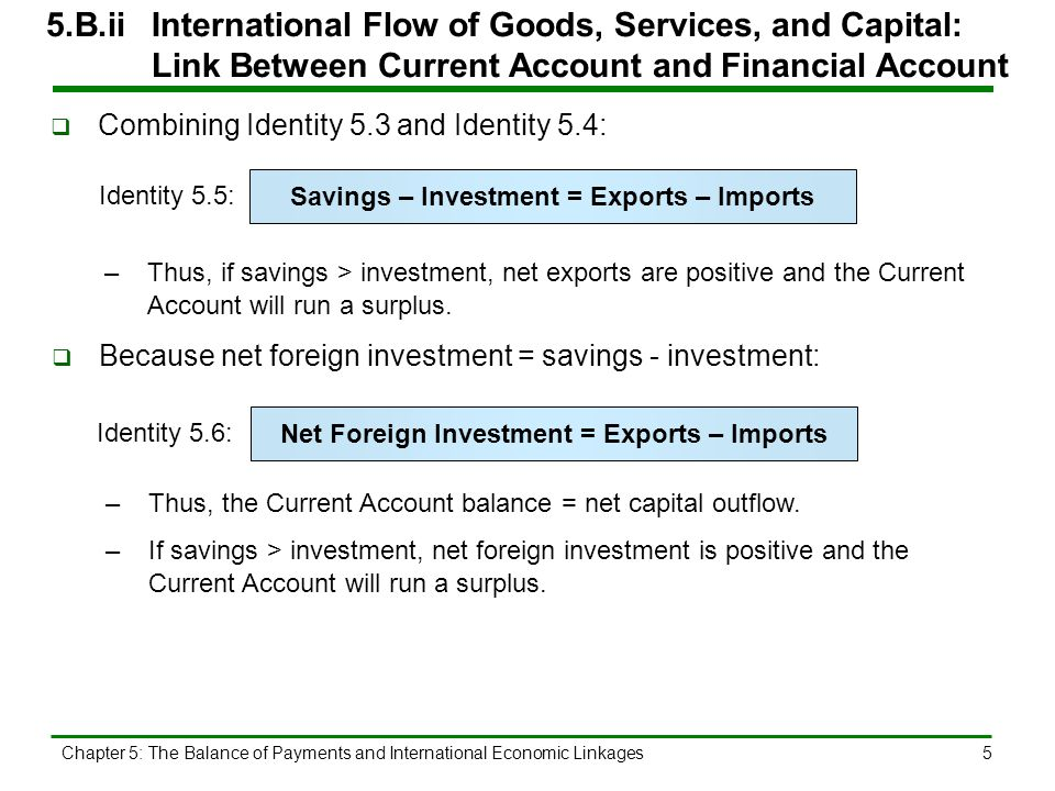 5.B.ii International Flow of Goods, Services, and Capital: Link Between Current Account and Financial Account