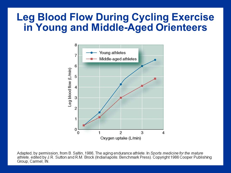 Leg Blood Flow During Cycling Exercise in Young and Middle-Aged Orienteers