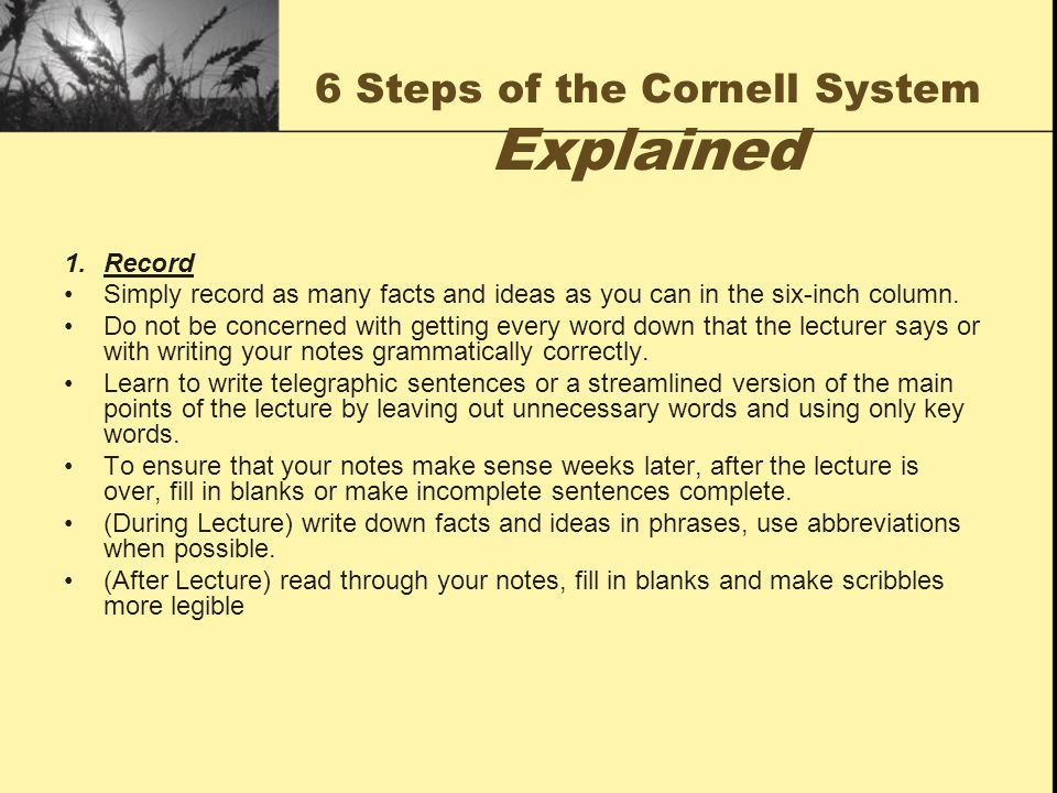 6 Steps of the Cornell System Explained