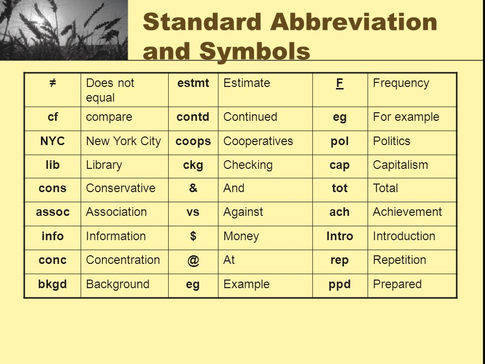Standard Abbreviation and Symbols