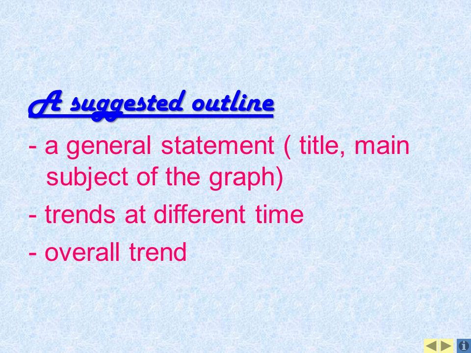 A suggested outline - a general statement ( title, main subject of the graph) - trends at different time.