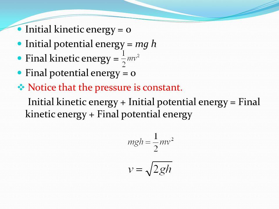 Initial kinetic energy = 0