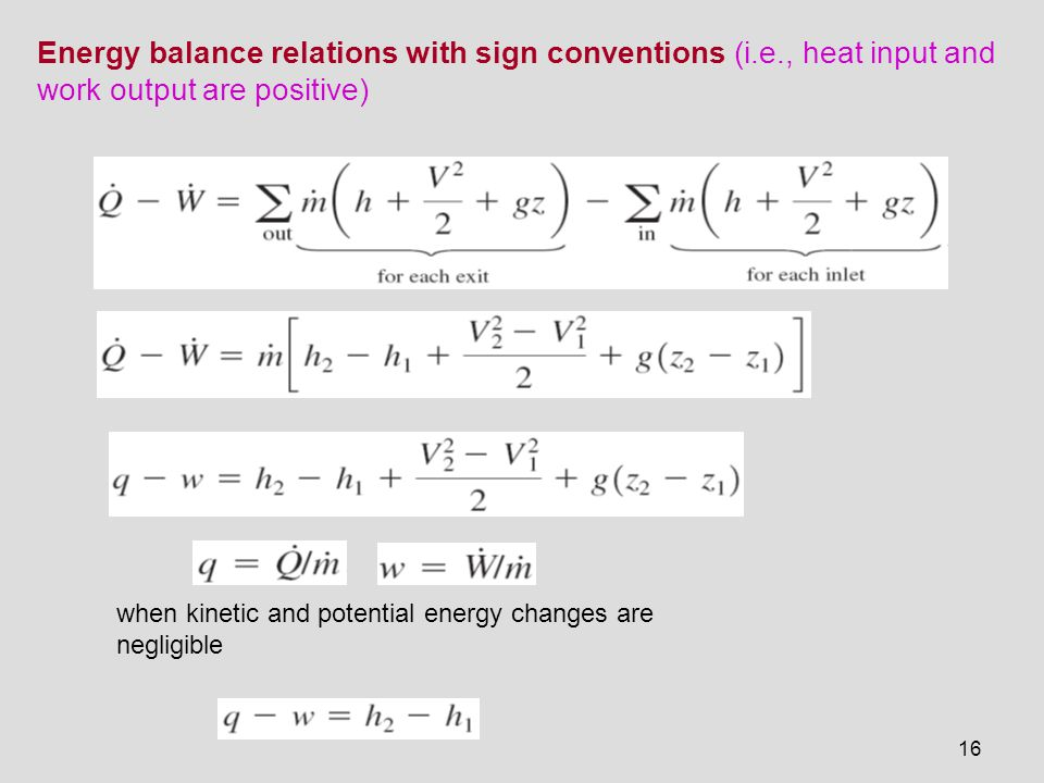 Energy balance relations with sign conventions (i. e
