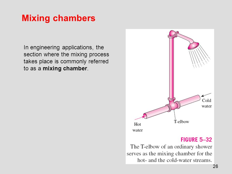 Mixing chambers In engineering applications, the section where the mixing process takes place is commonly referred to as a mixing chamber.