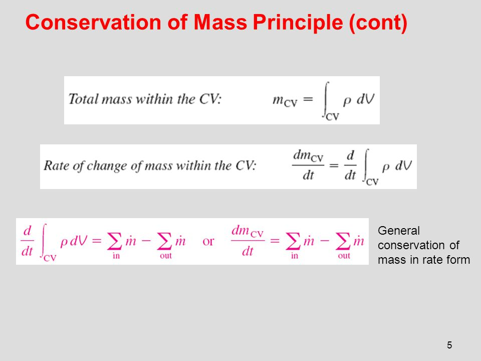 Conservation of Mass Principle (cont)