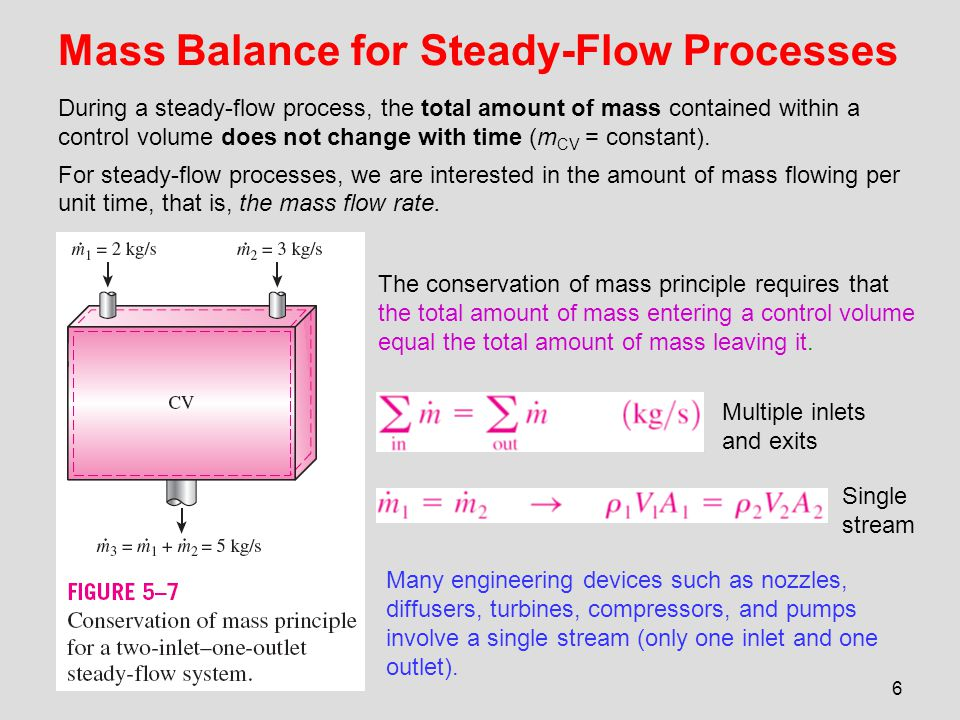 Mass Balance for Steady-Flow Processes